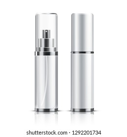 Two realistic cosmetic bottle on a white background.
