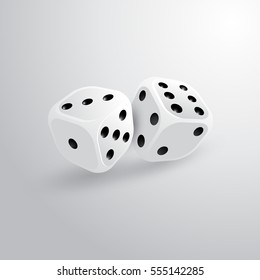 Two realistic dice for gambling. Icon for design games.