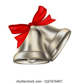 Two realistic silver bells with red ribbon isolated on transparent background