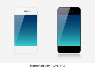Two realistic smartphones with edge-to-edge display isolated on white background