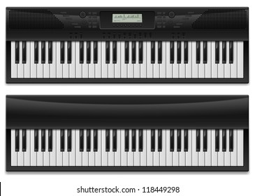 Two realistic synthesizer.  Illustration of designer on white background