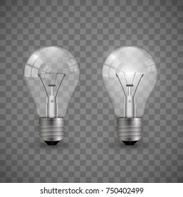 Two realistic transparent lightbulbs turned on and off. Vector illustration isolated on chequered background.