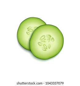Two realistic vector 3d slice juicy cucumbers icon closeup isolated on white background, top view. Design template for graphics, food vector illustration