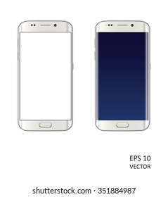 Two realistic vector smartphones on white background.