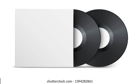 Two realistic vintage vinyl record with white blank cover isolated on white background. Mock up template design for presentation of a new album. Gramophone LP vinyl record with label. Retro design.