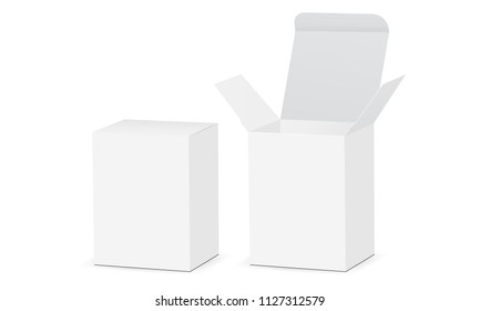 Two rectangular boxes mockups with open and closed lid. Medical or cosmetic packaging. Vector illustration