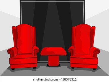 two red chairs in the room of my house