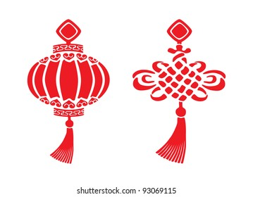Two red chinese New year symbols