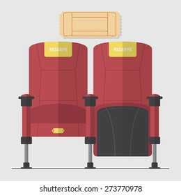 Two red cinema chair in flat design with blank movie ticket. Vector. Illustration.