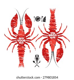 Two red craw fish. Vector lobster illustration. Cutlery, napkin, logo Crayfish.