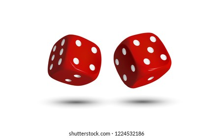 Two red dices with white dots on a white background. Vector.