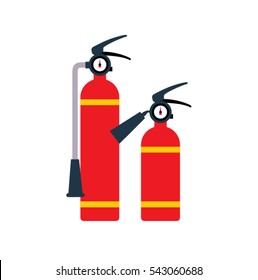 Two red Fire extinguishers. vector illustration.