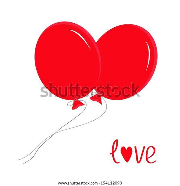 Two red flying balloons. Love card. Vector illustration.