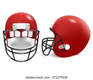 Two red football helmets - front and side view. Vector EPS10 illustration.