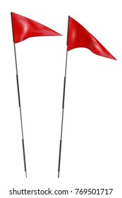 Two red golf flags. Set of golf flags on a white background. Vector illustration