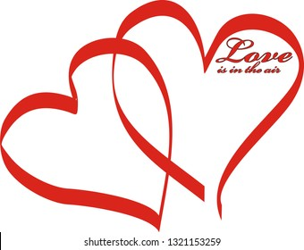 Two red intertwined hearts and the inscription 'love is in the air'