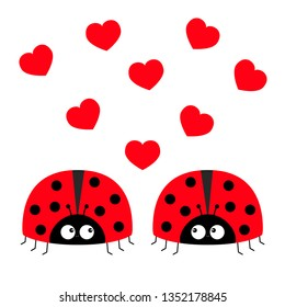 Two red lady bug ladybird icon set couple with hearts. Happy Valentines Day. Cute cartoon kawaii funny baby character. Love greeting card. Flat design. White background. Vector illustration