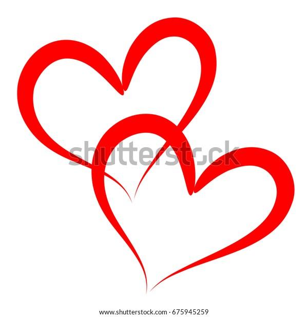 두 개의 빨간색 윤곽 벡터 하트는 우정과 로맨틱한 사랑 그리고 인간성의 삽화입니다.
