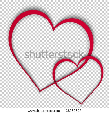 Two Red Paper Heart Frames Like Stock Vector (Royalty Free ...
