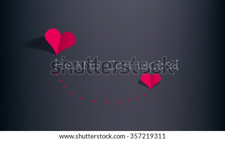 two red paper hearts connected red stock vector royalty free