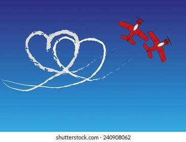 Two red planes are drawing a heartshape with contrails in the blue sky.