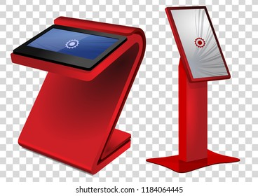Two red Promotional Interactive Information Kiosk, Advertising Display, Terminal Stand, Touch Screen Display. Mock Up Template.