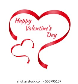 Two red ribbons in shape of stylized hearts isolated on white background. Valentine's Day greeting card.