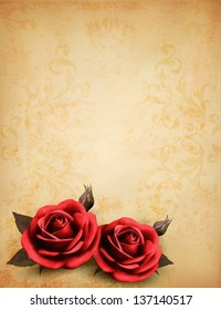 Two red rose in front of a background of vintage old paper. Vector.