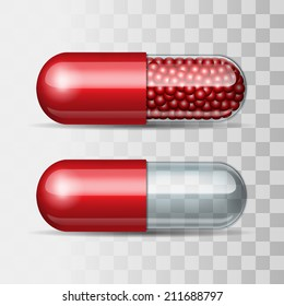 Two Red and transparent pills - empty and with granules. Vector illustration