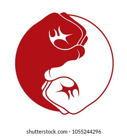 two red and white martial arts fists making the yin yang iconic symbol logo