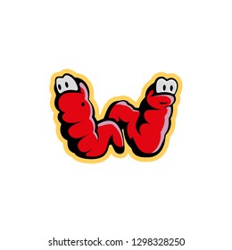 Two red worms characters look like the letter W. Worm logo template for live food or fish bait.