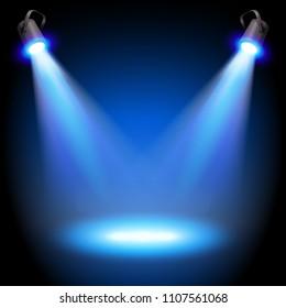 Two reflectors with headlight beams on blue background - place for your text or object. Illustration.