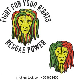 Two reggae lion's heads with  dreadlocks (colors of reggae flag). Artwork for t-shirt, posters...