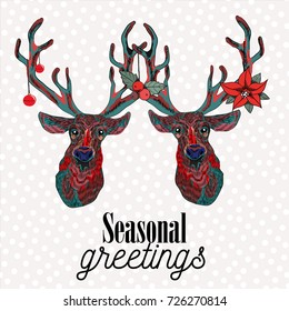 Two reindeer with christmas decorations on  their antlers. Seasonal greetings. Vector illustration on snow falling pattern background