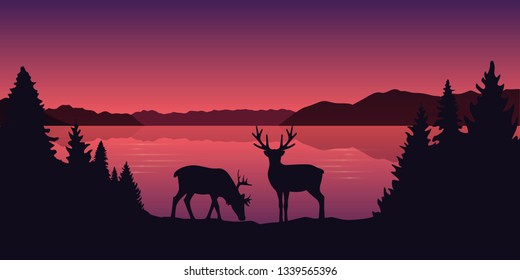 two reindeers by the lake beautiful red landscape vector illustration EPS10