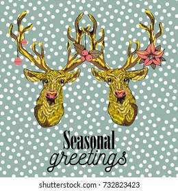 Two reindeers with christmas decorations on  their antlers. Seasonal greetings. Vector illustration on snow falling pattern on green background