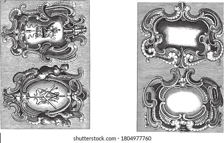 Two representations on a two-part album sheet. Two cartouches with a lobe-style frame on each performance. In the two cartouches on the left trophies of furniture maker's tools, vintage engraving.