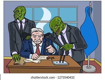 Two reptilians trying to convince a politician to sign an important document. Vector illustration