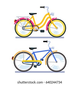 Two retro bicycles for woman with low frame and man with high. Flat style vector illustration isolated on white background.