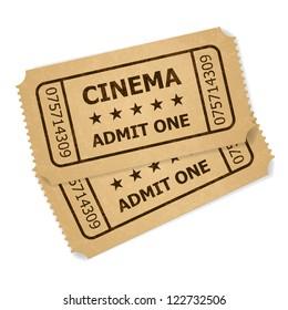 Two retro cinema tickets. Illustration of designer on a white background