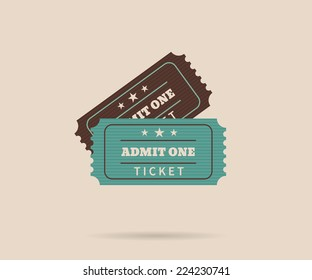 Two retro tickets. Temlate vector illustration for cinema and other events. Text outlined