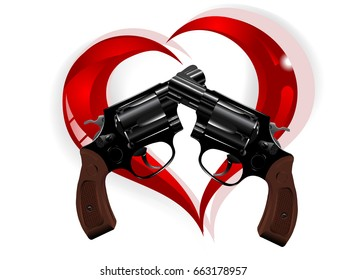 Two revolvers and red glass heart