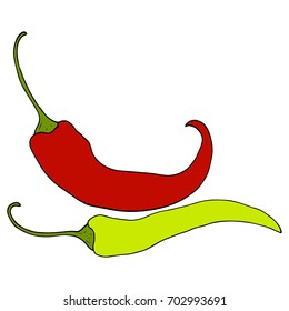 Two ripe, red and green chili peppers, sketch style vector illustration on white background. Realistic hand drawn, ripe red and green chili peppers, sketch style illustrations.