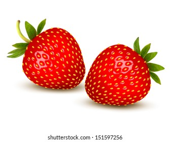 Two ripe strawberries with leaves. Vector.