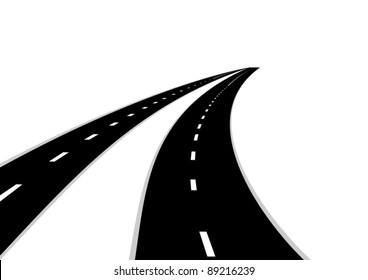 Two roads with a dividing strip. Road stretching into the distance