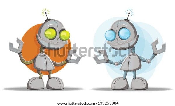 Two robot character illustrations/Robots Vector