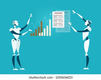 Two robots showing the graphs and charts of success. Artificial intellect