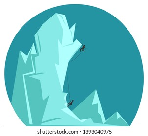 Two rock climbers climbing an icy mountain with the help of a rope vector color drawing or illustration