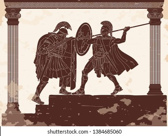 Two Roman legioners in armor and helmets fight with a sword and a spear. Vector drawing on a historical theme.