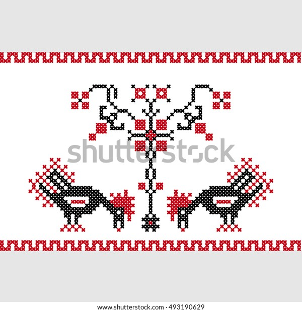 Two Roosters Under a Tree,  Ancient Ukrainian Ornament , Cross-stitch, Vector Illustration